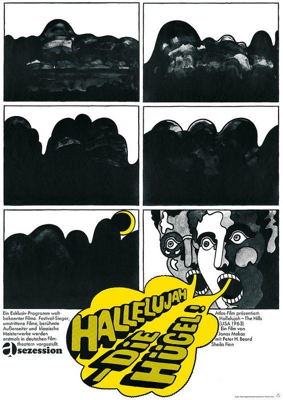 Heinz Edelmann, film poster, 1965 Halleluja - Die Hügel Jonas Mekas (Atlas Film)