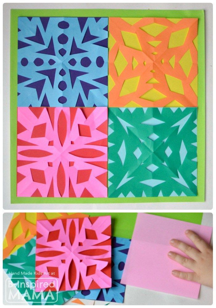 A Colorful Kids Art Quilt using Paper Snowflakes - B-Inspired Mama | kids art | kids craft | cut snowflakes | snowflake craft | winter craft for kids