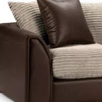 Fawn  Black Fabric & Faux Leather Sofa ( Couch ) with  arm Fibre seats and durable wooden feets for cheap