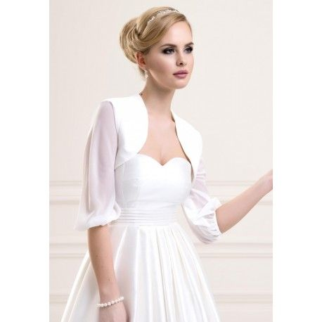 bolro mariage en satin voile de tissu ivoire blanc accessoires de la marie - Bolero Mariage Blanc