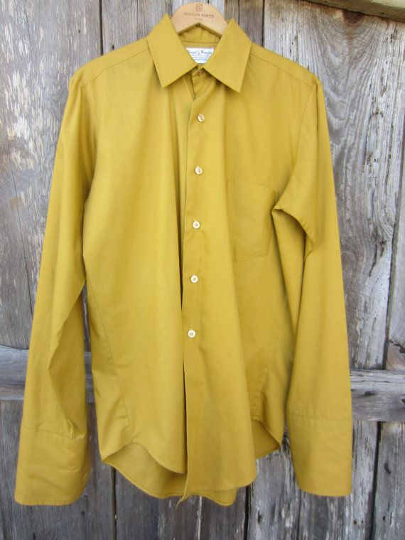 60s/70s Mustard Dress Shirt w/ French Cuff Sleeves by Royal Knight, Men's M-L // Vintage Button-up Long Sleeve Shirt