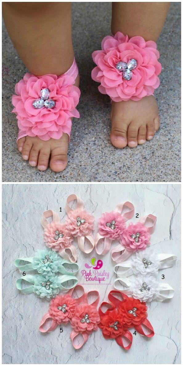 Feet Flower Baby Girls Barefoot Sandals Hair Foot Butterfly Headband