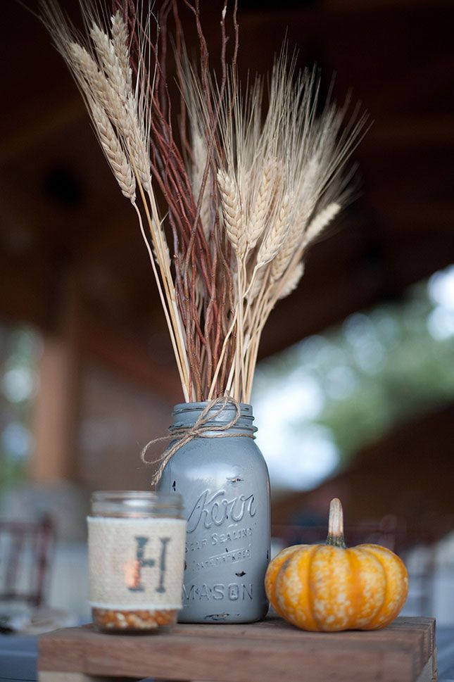 Use fresh fall items to make on-theme centerpieces.