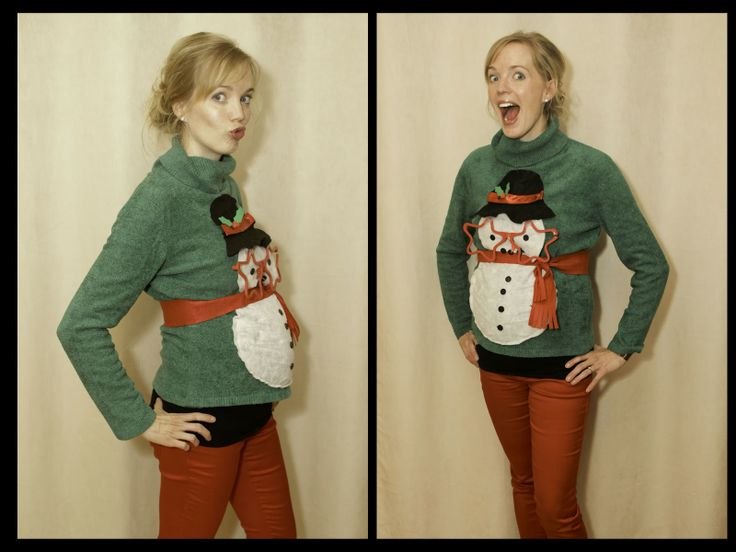 Snowman maternity ugly sweater