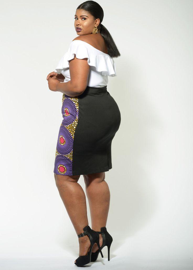 Efe Purple/Pink African Pencil Print Skirt