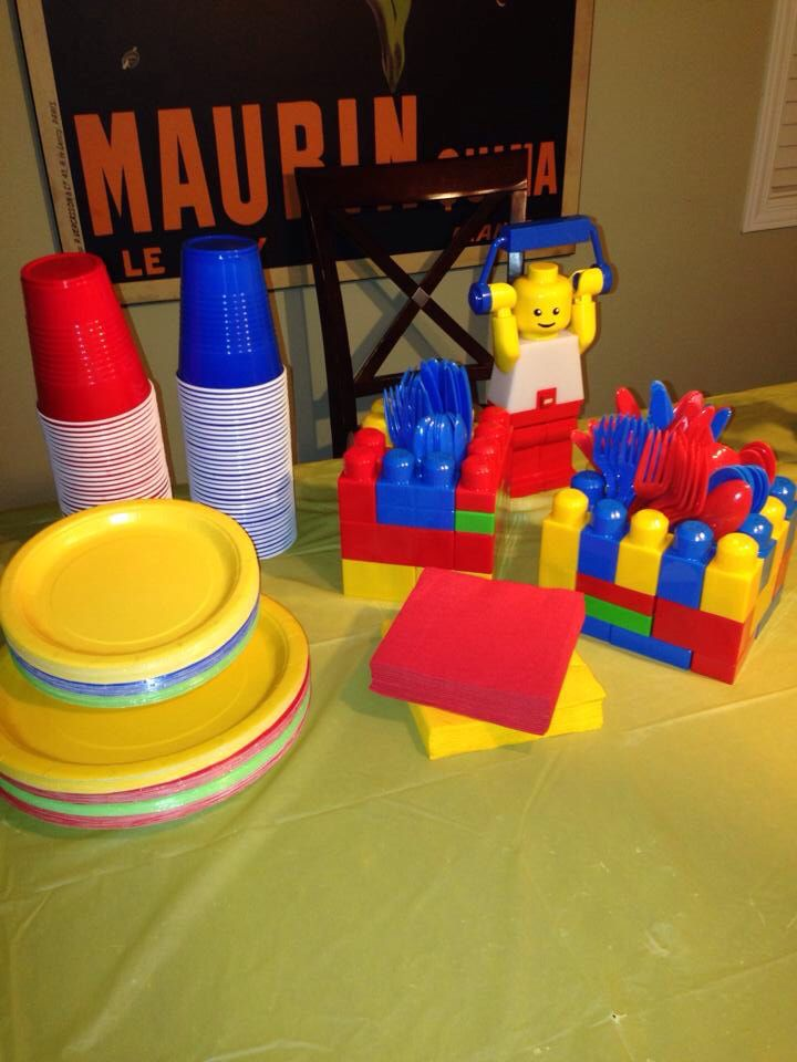 Lego party - handmade utensil holders with duplo Lego