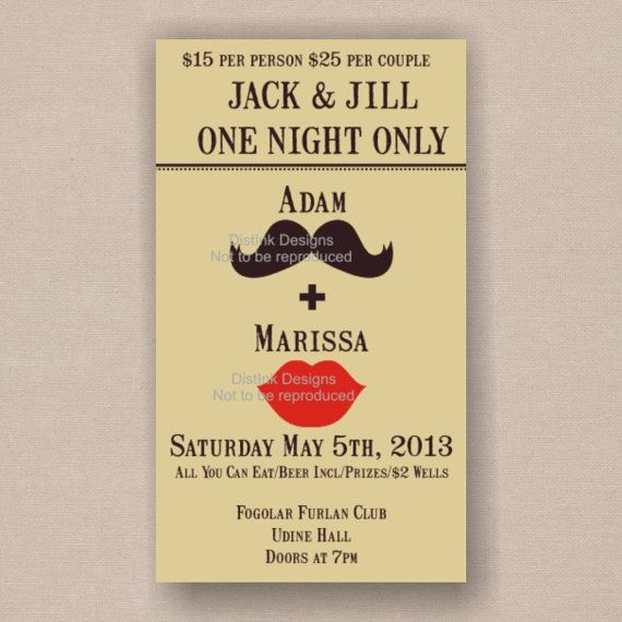 Bachelor party invites? Moustache and Kiss  Stag and Doe Tickets or by DistInkDesigns, $15.40