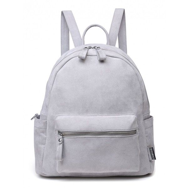 VENUS VS MARS GREY FAUX SUEDE BACKPACK found on Polyvore featuring bags, backpacks, backpack, gray backpack, backpack bags, pocket bag, knapsack bag and rucksack bags