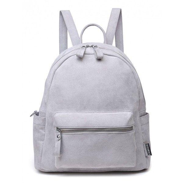 VENUS VS MARS GREY FAUX SUEDE BACKPACK found on Polyvore featuring bags, backpacks, backpack, gray backpack, backpack bags, pocket bag, knapsack bag and rucksack bags