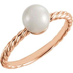 14K Rose 5.5-6mm Freshwater Cultured Pearl Ring
