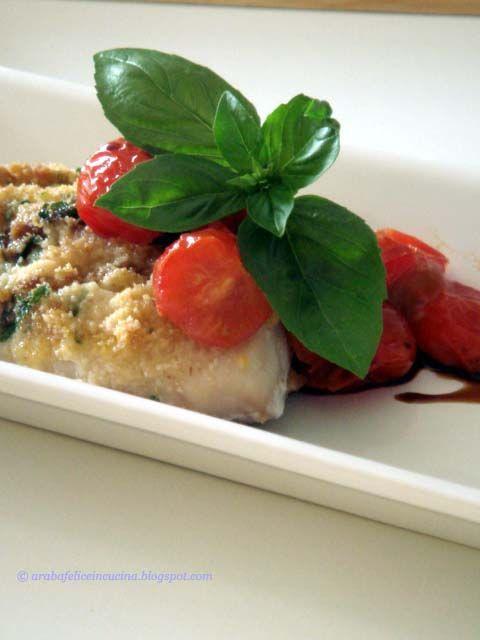 Spigola con panatura di formaggio al basilico
