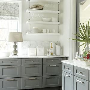 Love The Open Shelves. Southern Living Idea House Gray And White Kitchen  With Open Shelves, Kitchen Cabinets, Gray Cabinet, Grey Cabinet