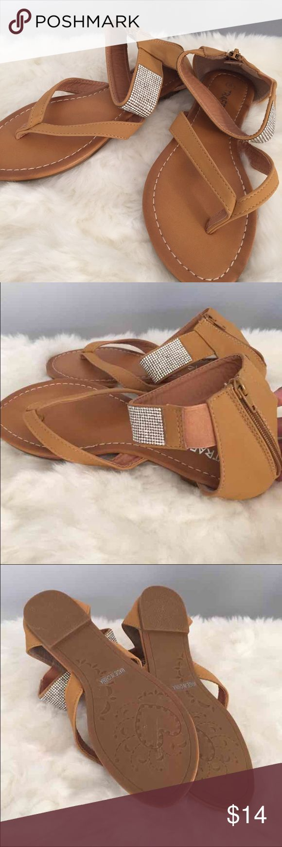 Tan ankle strap sandals Brand new, ankle strap flat sandals. Very versatile. Rhinestones around the ankle (none are missing). Zips up in the back. Size 8. Shoes Sandals
