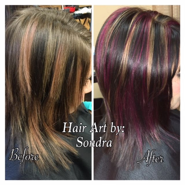Dramatic hair art color using a base of Goldwell, cool, dark-brown base, caramel, & Max violet-red highlights and balayage. Color design by Sondra.