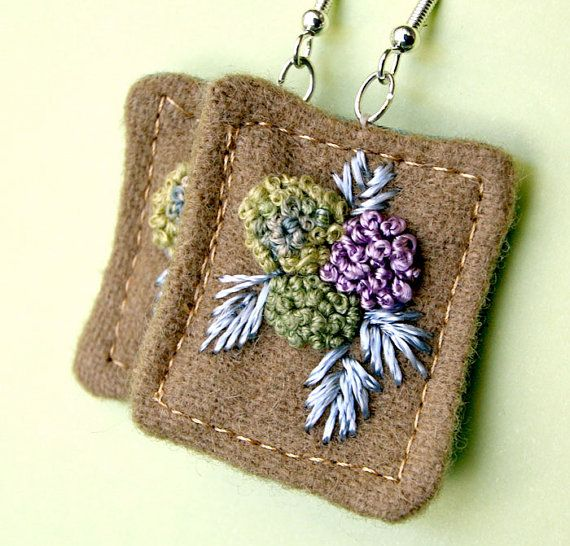 Hydrangea Fiber Earrings Textile Hand embroidery tagt by Waterrose, $38.00