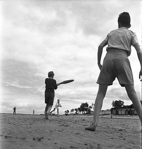Photograph: Max Dupain: Boys playing cricket at the beach, Melbourne, Australia 1946.