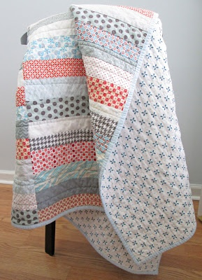 Simple Strip Quilt - love the backing fabric