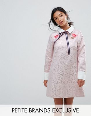 Sister Jane Petite Mini Dress With Embroidery