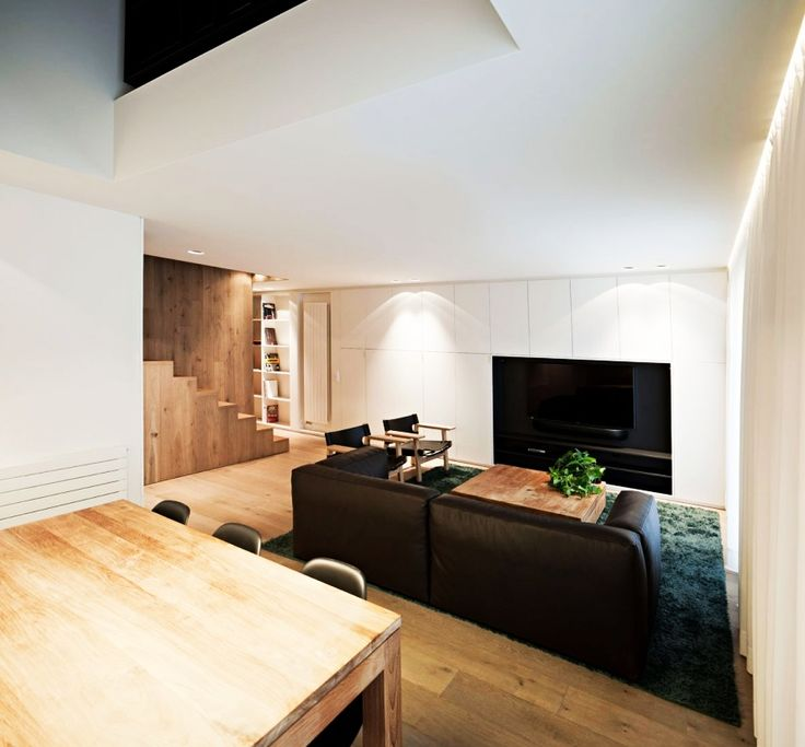 Home Design, Cozy Vivienda En Arnedo House TV Room Designed With Built In TV Stand Furnished With Brown Leather Sofa Set: Fantastic Modern Contemporary House Design Ideas With Monochrome Theme