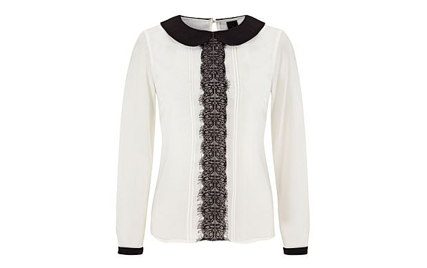 "Lace Collar Blouse. ""A classic blouse gets a fresh style hit thanks to a romantic lace collar."""