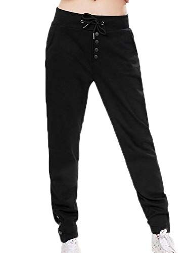 5eb0a347472 Huateng Mujeres Pantalones Deportivos Pantalones Deportivos Pantalón con  diseño de botón Pantalones de Dama con cordón Harem Pantalones