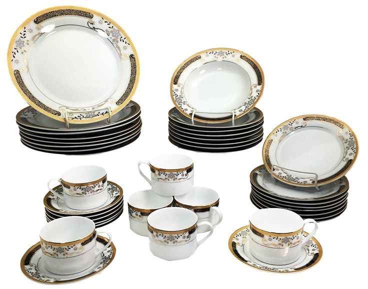 Atlantic Collectibles French Floral Design With Gold Trim Multi Color 40 Piece Luxury Dinnerware Set Service For 8 Guests