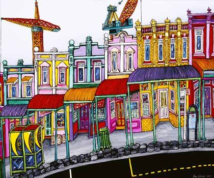 Morning on Upper Queen St, Auckland by Fiona Whyte for Sale - New Zealand Art Prints