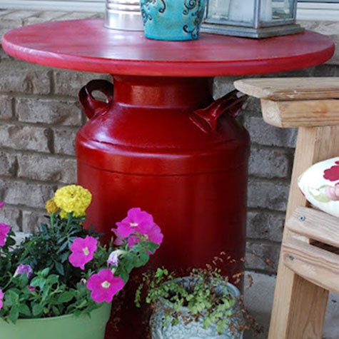 Patio table. Made from an old milk can! (click for basic steps!)