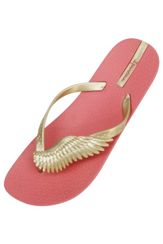 Coral & Gold Ipanema Neo Sky Wing Strap Brazilian Flip Flops Size 7. Made In Brazil. Hypo-Allergenic & Environmentally Friendly. Made From Patented Super-Soft Rubber. F01264.