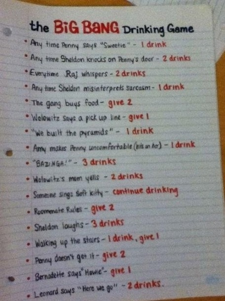 The BIG BANG THEORY Drinking Game, funny game to play when with