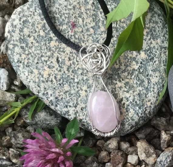 Sterling Silver Wire Wrapped Rose Quartz Mini-Pendant, Mindfulness Gift, Wanderlust Jewelry – Products