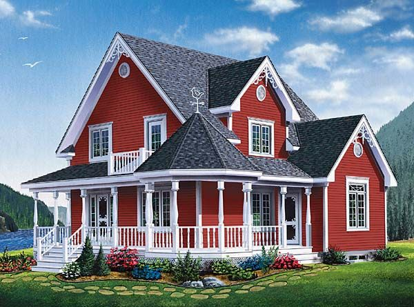 Country Farmhouse Southern Victorian House Plan 65377