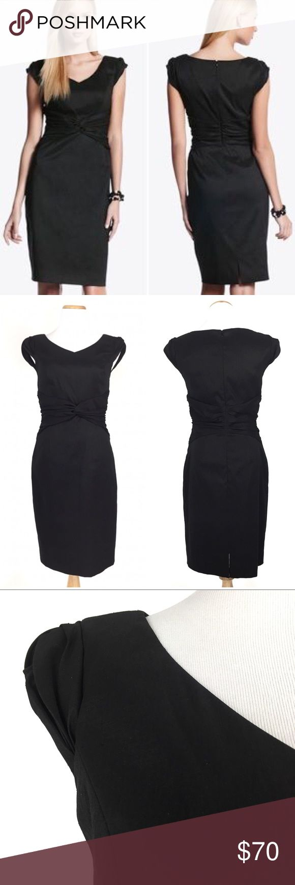 """NWT WHBM Size 4 Knotted Sheath Dress Black Black dupioni sheath dress designed with a V-neck and a gentle twist at the cap sleeves. Crisp dupioni fabric with a slubbed texture, subdued luster and gentle rustle. Back zipper. 4"""" slit. Fully lined.  This dress is currently sold out on white house black market website. Retail $168 New with tag. Great shape and in excellent condition. No rip, no stain and no holes.  Material:59% Polyester, 36% Nylon, 5% Spandex Measurement: Bust (Pit to Pit)…"""