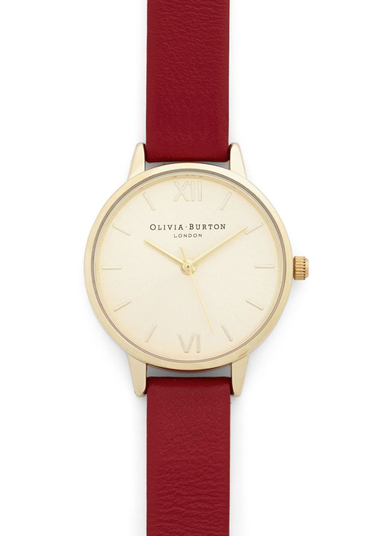 Time Floats By Watch in Gold/Cherry - Midi. Youre drifting on a cloud of stylish enchantment as you daydream, this leather watch from Olivia Burton keeping track of the passing hours! #red #modcloth
