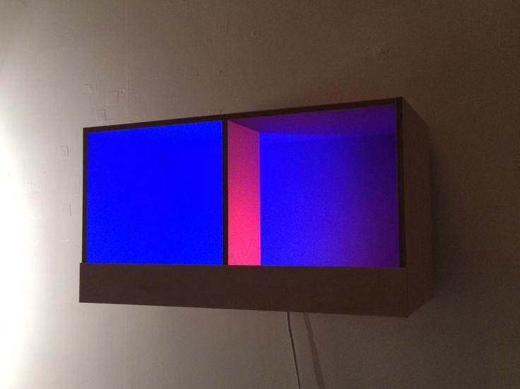BLUE BOX, 2016, Valchromat, PVC, acrylic paint and LED lamps, 26.8 x 48.7 x 23 cm