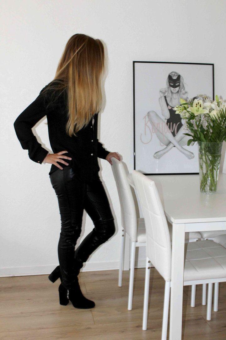 Pantalon simili cuir femme