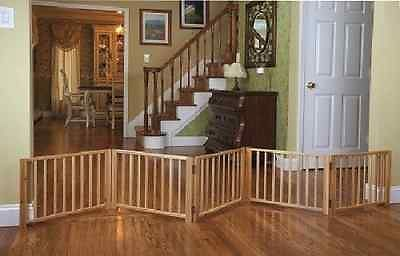 Dog Gate EXTRA WIDE Large Folding Wood Pet Pen Portable Swing Fence Indoor NEW