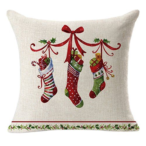 Nation Pillow Case Clearance  Christmas Linen Square Throw Flax Decorative Cushion Pillow Cover (D)