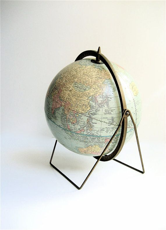 1950s Crams 12 Imperial Globe with brass meridian and brass trestle stand    Gorgeous light colors, overall excellent condition, minimal wear.