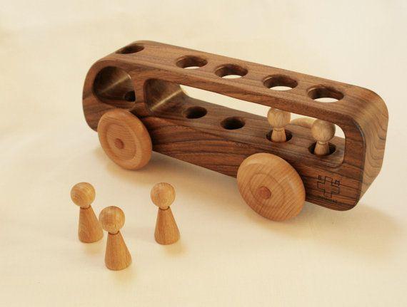 Wooden Bus Wooden toy Car Walnut woodEco by BERTYandMASHA
