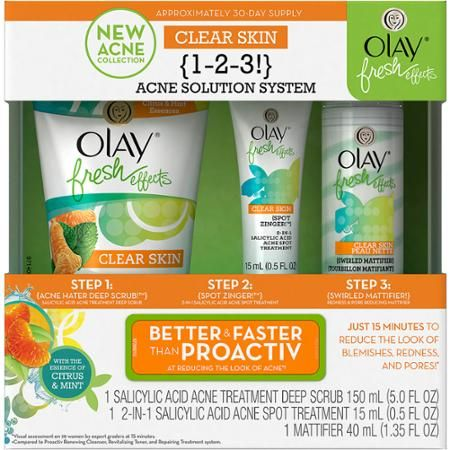Olay Fresh Effects Clear Skin 1-2-3 Acne Solution System, 3 pc - Walmart.com