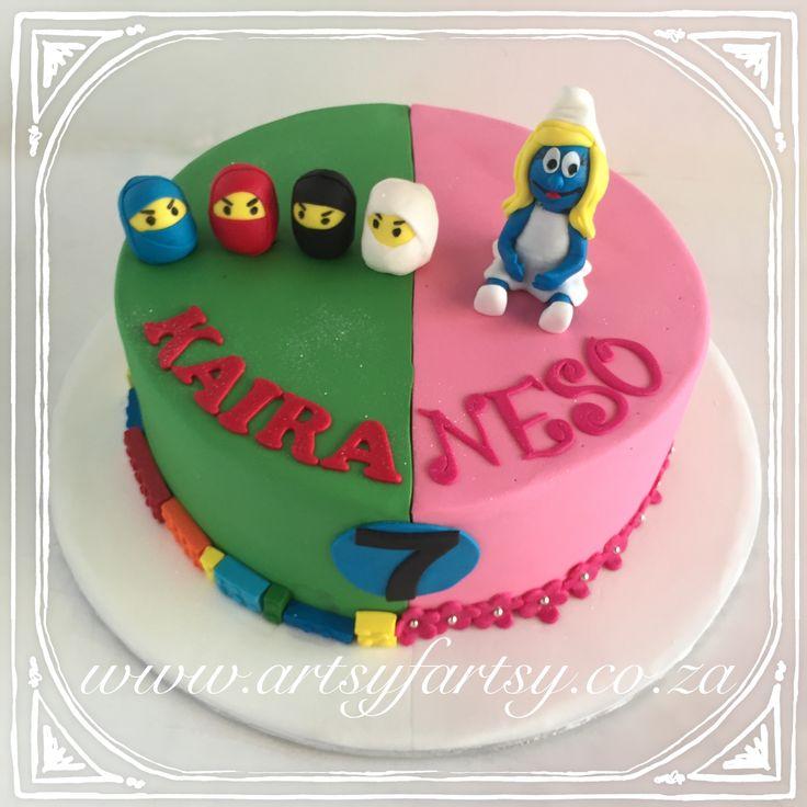 Smurfette and Ninjago Cake #smurfettecake #ninjagocake