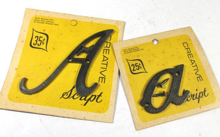 """Vintage Plastic Letters 3"""" YOUR CHOICE Caps Lowercase Black Plastic Letters Creative Script Cursive Alphabet A-Z Assemblage Supplies (F111) by punksrus on Etsy"""