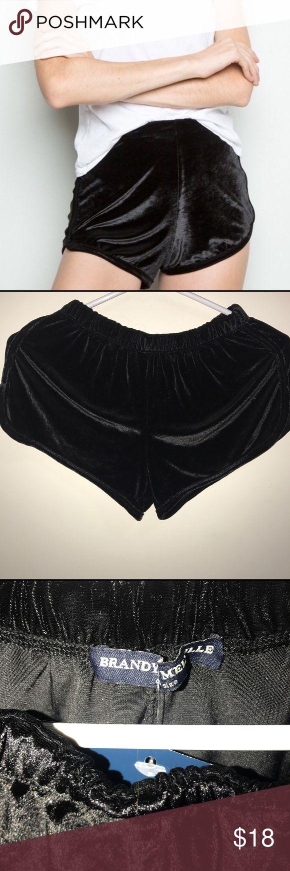 Brandy Melville black velvet lisette shorts Velvet black shorts Brandy Melville Shorts