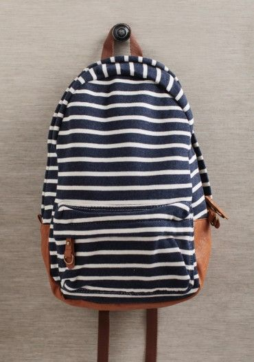 Navy backpack with classy stripes - perfect for holding school supplies or a beach towel