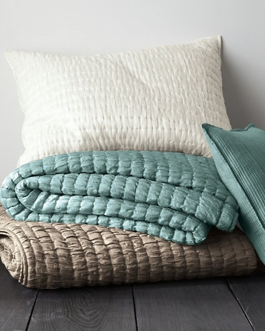 """Eileen Fisher Crushed-Silk Quilt Collection from Garnet Hill - I'm diggin' the soft white or pale blue (""""river stone"""") $39 for euro sham"""