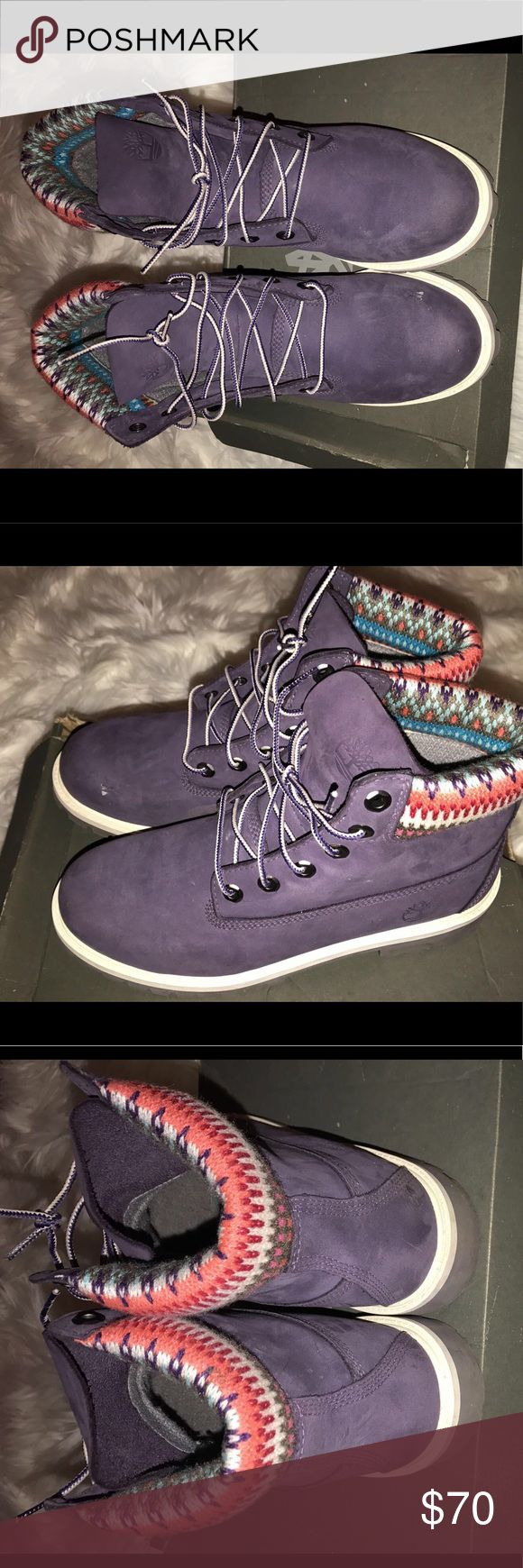 """Like"" NEW Timberland boots Purple Timberland boots that have been worn one time (SUPER small scratch on the toe of one of the boots). The detail around the ankle of the boot makes them Exeter melt unique and different from all the rest! Perfect for winter/fall. Timberland Shoes Winter & Rain Boots"