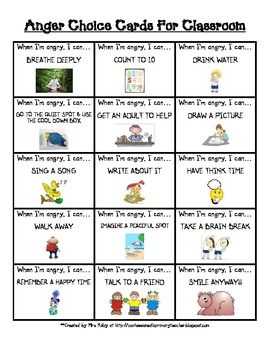 These cards were created for use in the classroom for students to use when they are angry