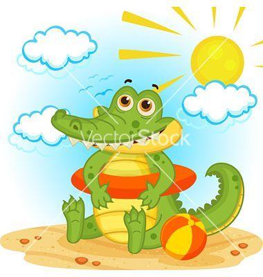 Crocodile on the beach vector 1901364 – by nataka_ on VectorStock®    #summer c…