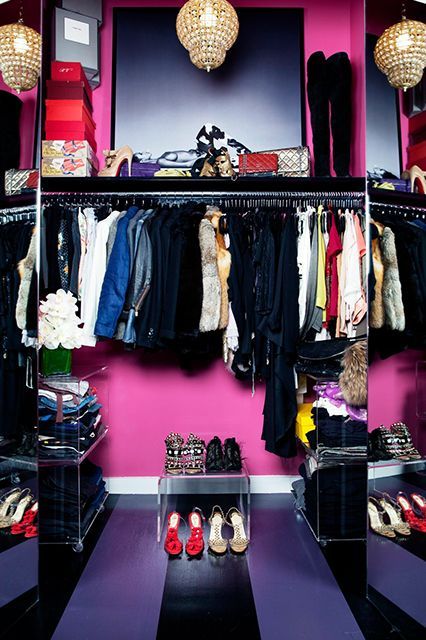 Of course, Park has an amazing closet. Before co-founding Vaunte, she spent five years as the Vice President of Creative at Gilt Groupe. To house her wardrobe, Cooper created a fun space with neon pink, lacquered walls, accessorized with a vintage brass and crystal pendant lamp.    Get the look with this lucite shelf, which stylishly organizes shoes — but can also serve as a side table elsewhere. Maureen Footer Lucite Table, $295, from Viyet.: